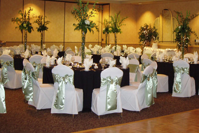 Black and Silver Ballroom Setup